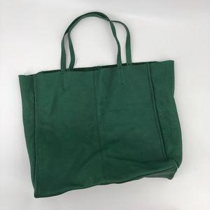 Gap Green Leather Shopper Tote Bag